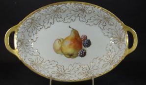 """gr. ovale Schale mit Früchtedekor """"Thomas"""" um 1930, guter Zustand, H-6 cm, 33x21 c"""