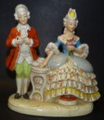 Galantes Paar, bemalt, undeutlich gemarkt, DDR, H-18,5 cm, B-19 cm