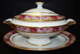 """Speiseservice """"Limoges"""" mit Rosendekor, für 6 Personen, um 1900, 37 Teile, gut erhalte"""