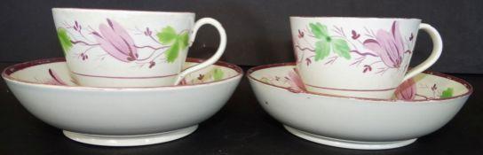 2 Biedermeier Tasse nmit U.T., Blumenmalerei, Alters-u. Gebrauchsspuren