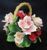 grosser Rosenkorb von Franklin Mint, 1992, als Tischdekoration,rote Rosen, H-24 cm, B-18cm, einige