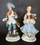 "2x Bisquitporzellanfiguren ""Junges Paar"" bemalt, H-22 cm, Dame geklebt."