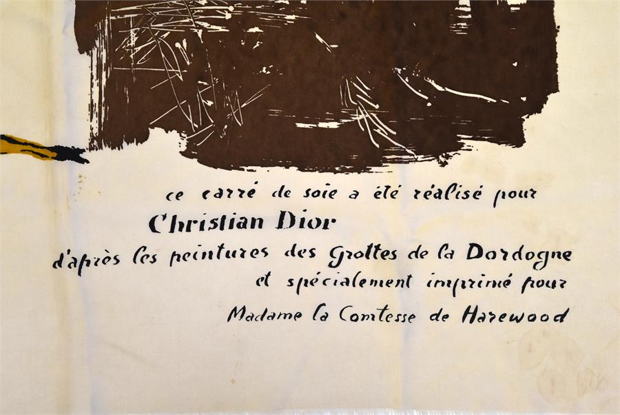 Lot 322 - A unique mid-1950s Christian Dior cream silk scarf, screenprinted in black, brown, orange, blue, and