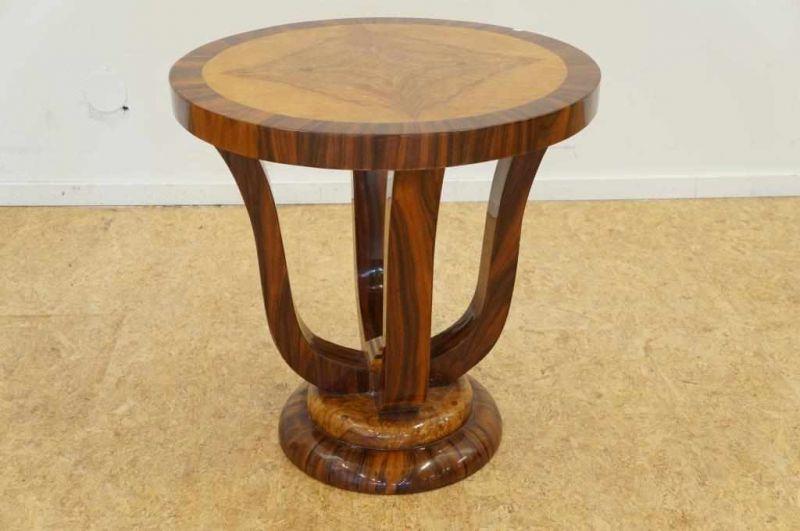 Art Deco Stijl : Partly walnut art deco style round coffee table h cm deels
