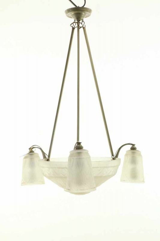 Art Deco Hanglamp : Frankrijk messing en bronzen vierlichts hanglamp art deco met