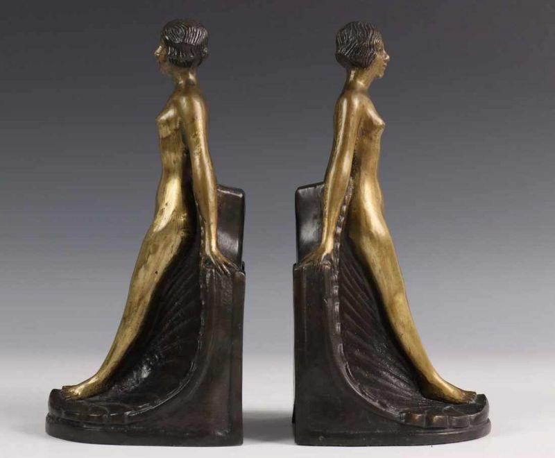 Art Deco Stijl : Paar bronzen boekensteunen in art deco stijl h cm