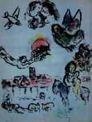 Chagall, MarcFarblithographie auf Arches Velin, 31 x 23,2 cmNocturne in Vence (1963)Mourlot 400. Aus