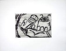 """Barfuss, InaRadierung auf Bütten, 23,7 x 53,6 cmOhne Titel (1983)Signiert und datiert. Nummeriert """""""
