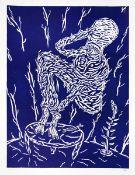 Bömmels, PeterLinolschnitt in Blau auf Bütten, 59,5 x 44,8 cmOhne Titel (1982)Signiert und