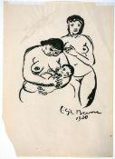 Busse, LiljaTuschpinselzeichnung auf Papier, 26,8 x 19,3 cmStehender weiblicher Akt und stillender