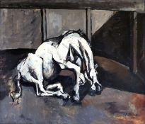 Böttcher, ManfredÖl auf Pappe, 36 x 41,7 cmSterbendes Pferd (1957)Signiert und datiert. Auf der