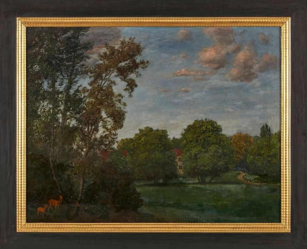 """Lot 49 - Gemälde Landschaftsmaler um 1900,i. d. Art des Hans Thoma """"Idyllische Landschaft mit Blick auf ein"""