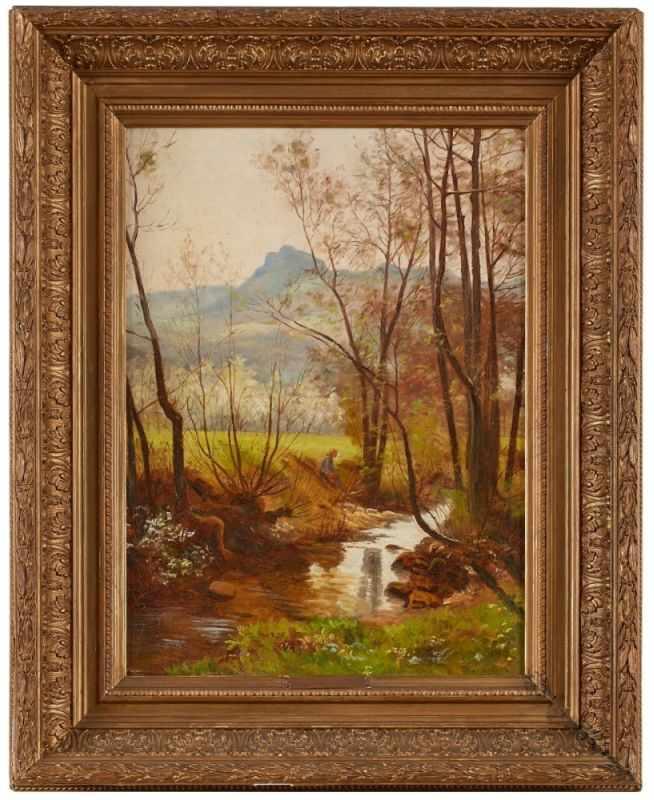 """Lot 37 - Gemälde Heinrich Hoffmann1859 Kassel - 1933 Heidelberg """"Landschaft mit Bachlauf und Staffage"""""""