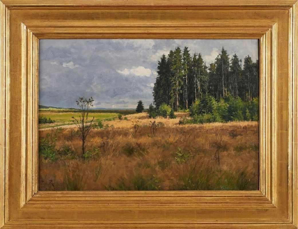 """Lot 28 - Gemälde Paul von Ravenstein1954 Breslau - 1938 Karlsruhe """"Bewölkte Landschaft - Am Waldrand"""" u."""