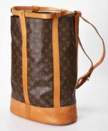 Lot 1082 - Rucksack Louis Vuitton Randonnée Monogram GM Shoulder Bag. Gummiertes Baumwollgewebe mit Leder,