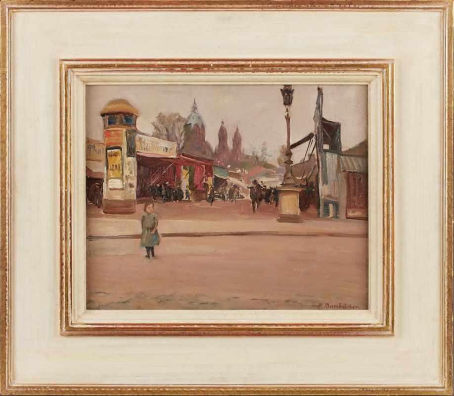 "Lot 59 - Gemälde Alfred Mumbächer1888 Mainz - 1953 Mainz Genre- u. Landschaftsmaler. ""München, der Eingang"