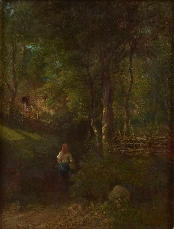 """Lot 48 - Gemälde Anton Burger, zugeschrieben1824 Frankfurt - 1905 Kronberg """"Junge Frau läuft einen Hohlweg"""
