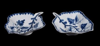 A pair of Lowestoft blue and white pickle dishes