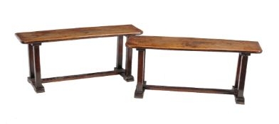 A pair of oak hall benches