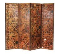 An embossed leather four fold screen