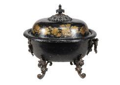 A Regency or George IV black japanned toleware coalbox