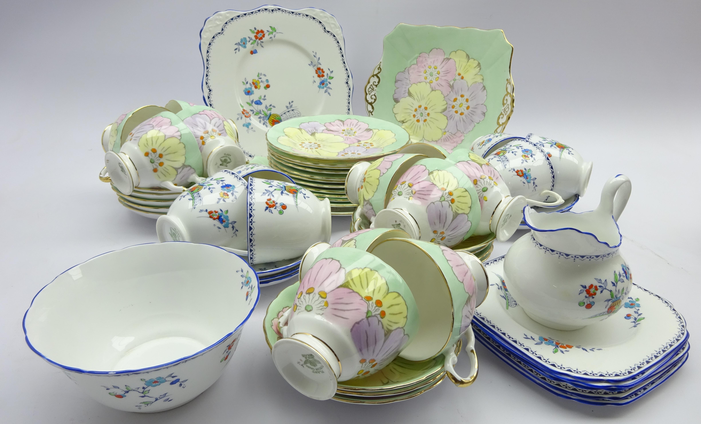 Lot 57 - Tuscan China floral pattern tea set,