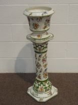 Lot 65 - Capodimonte Jardiniere and stand with floral decoration,