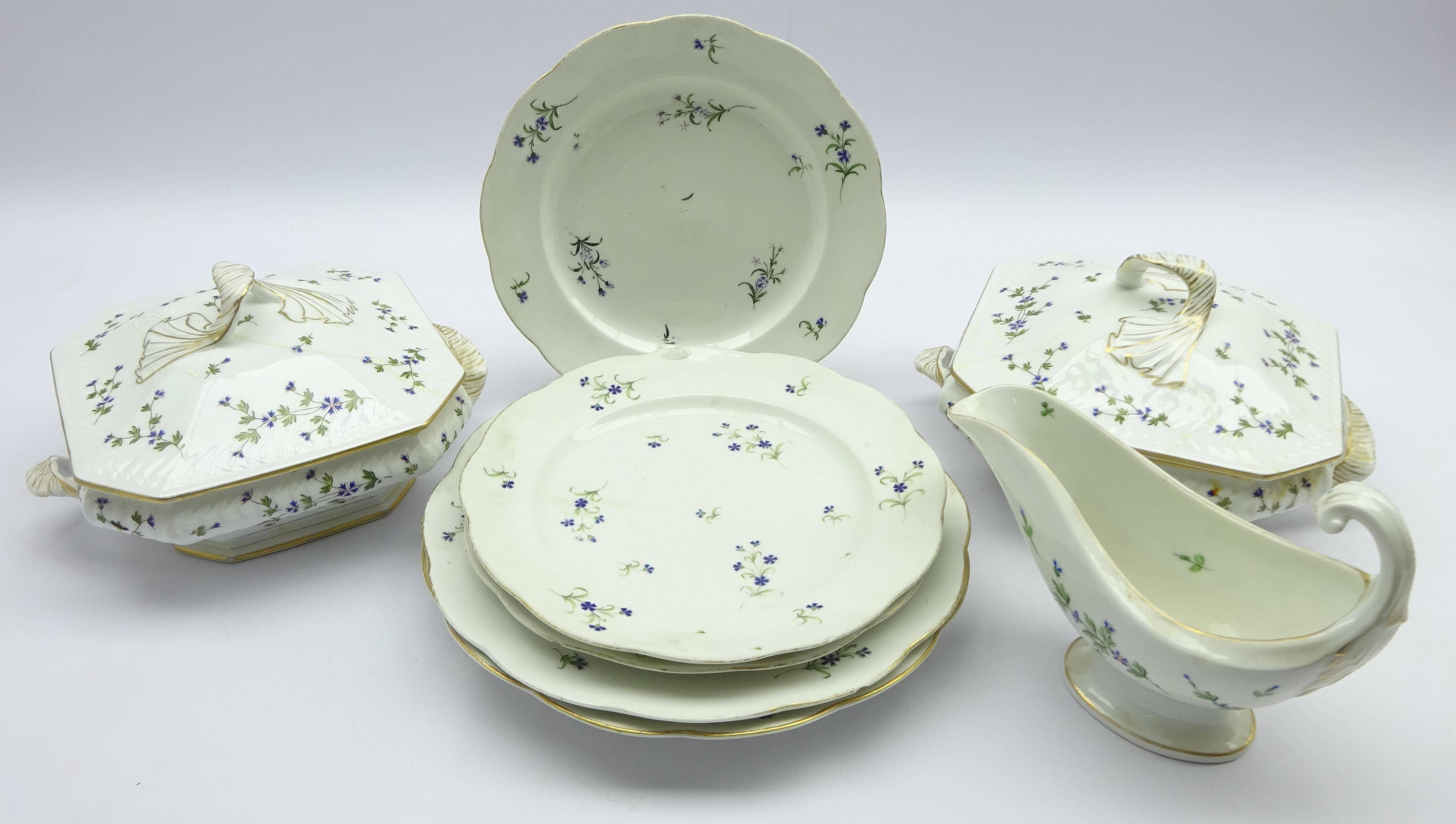 Lot 32 - Pair 18th century Oude Loosdrecht (Joannes de Mol) dinner plates & three matching dessert plates,