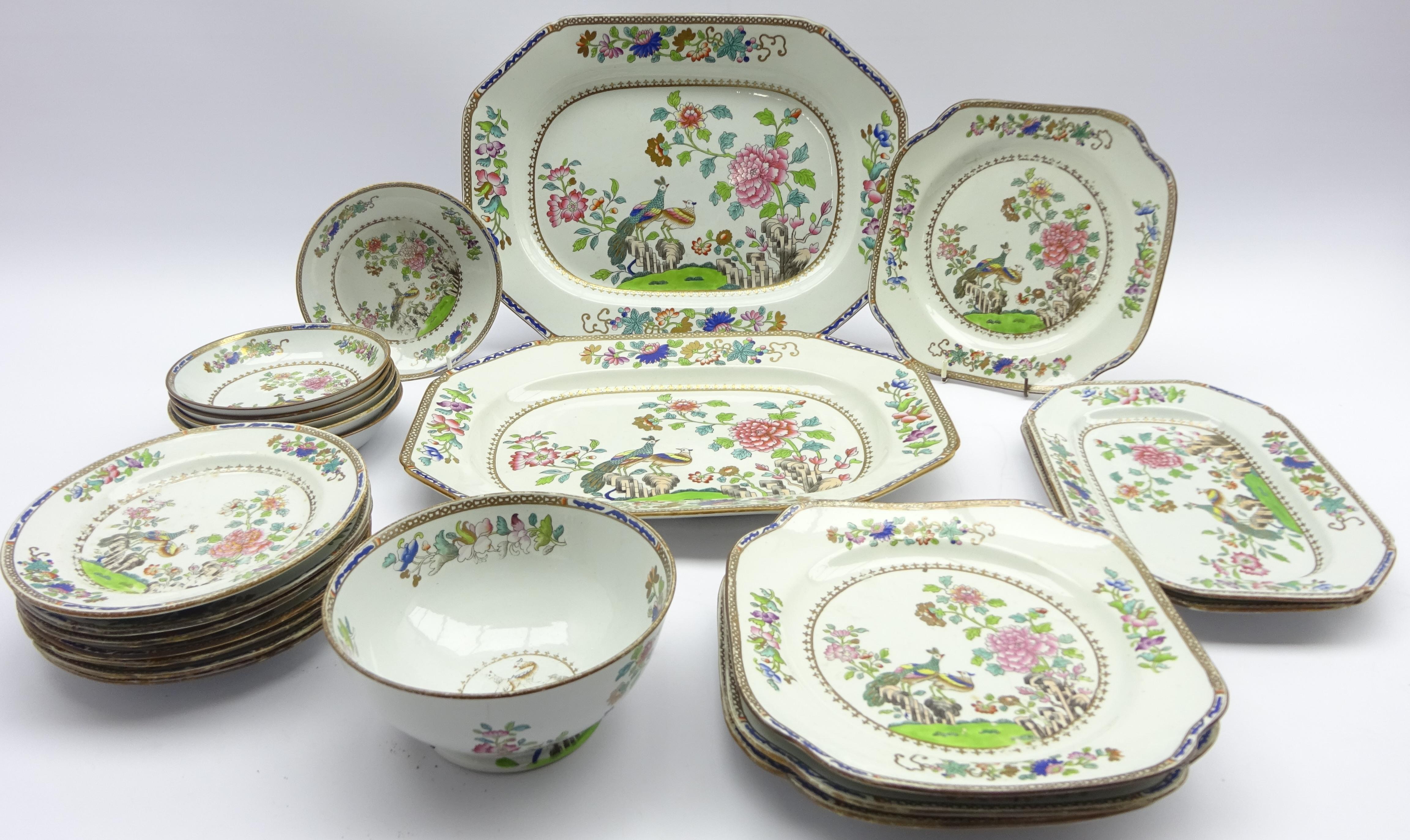 Lot 37 - Early 19th century Copeland & Garrett and similar Chinoiserie pattern tableware (22)