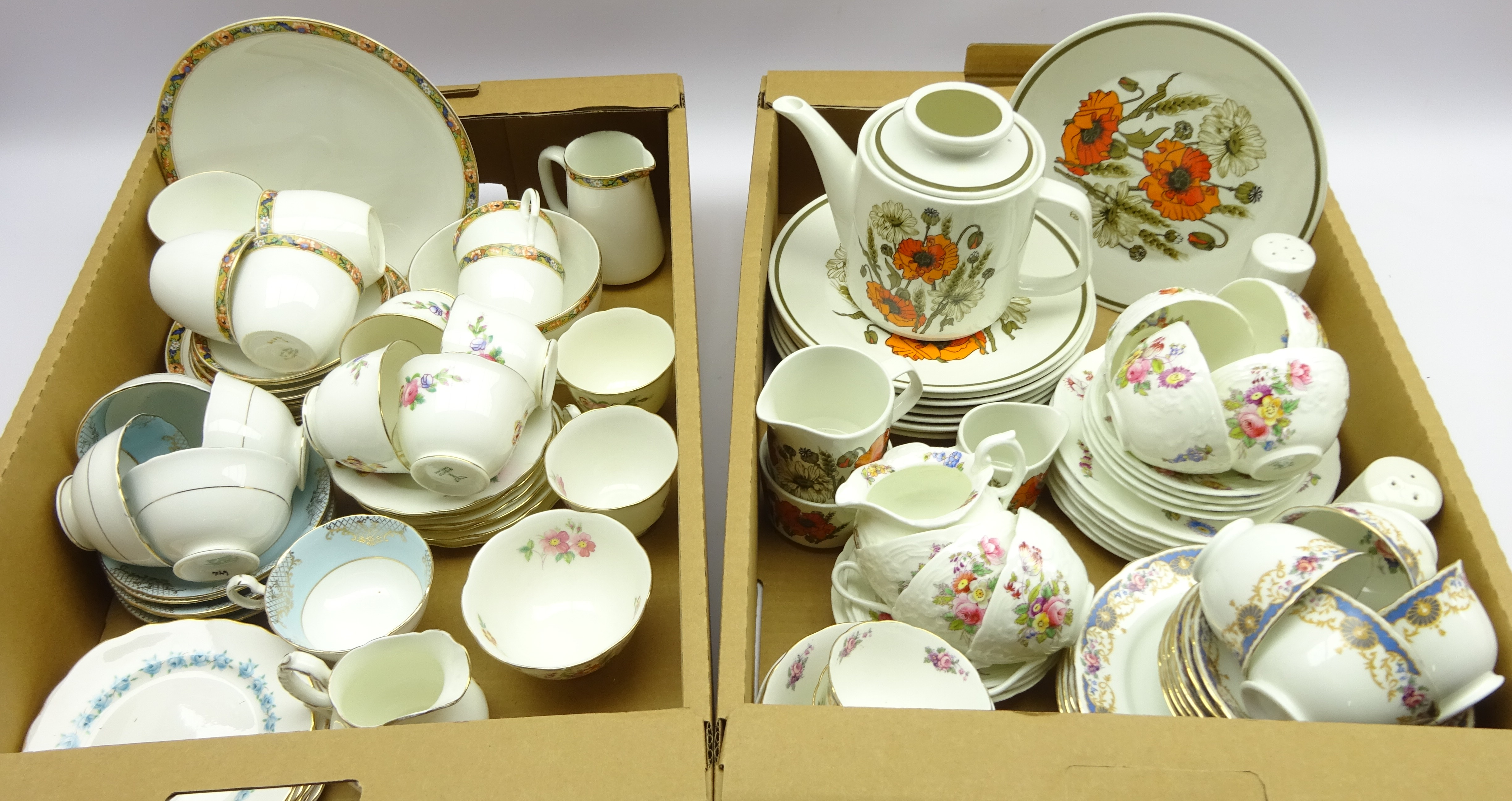 Lot 62 - Coalport part tea ware, with embossed and floral decorated design, Sevres Bone China part teaware,
