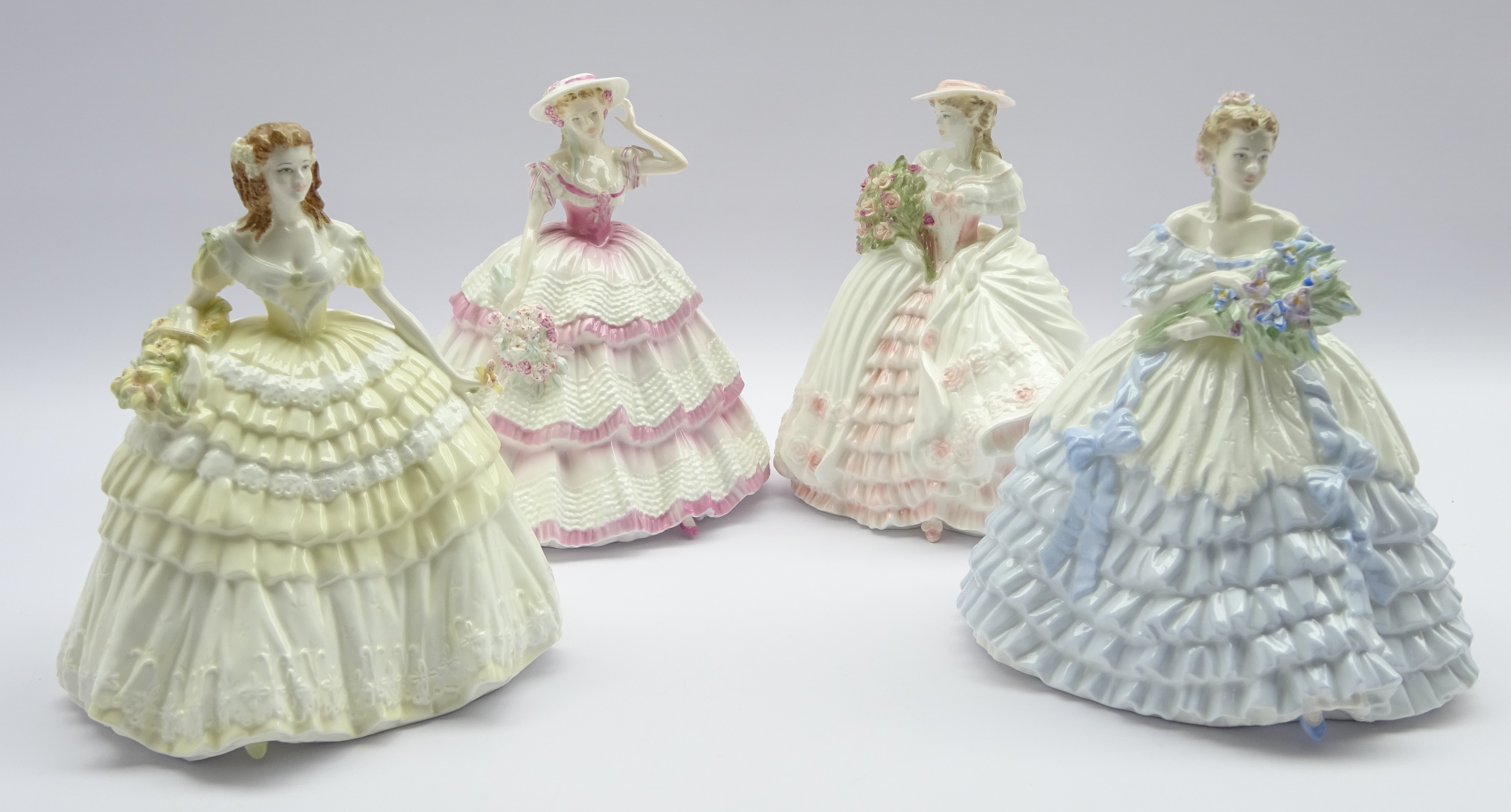 Lot 51 - 'The Four Flowers' Collection set four Coalport figures, Iris, Carnation, Rose and Lily H22cm,