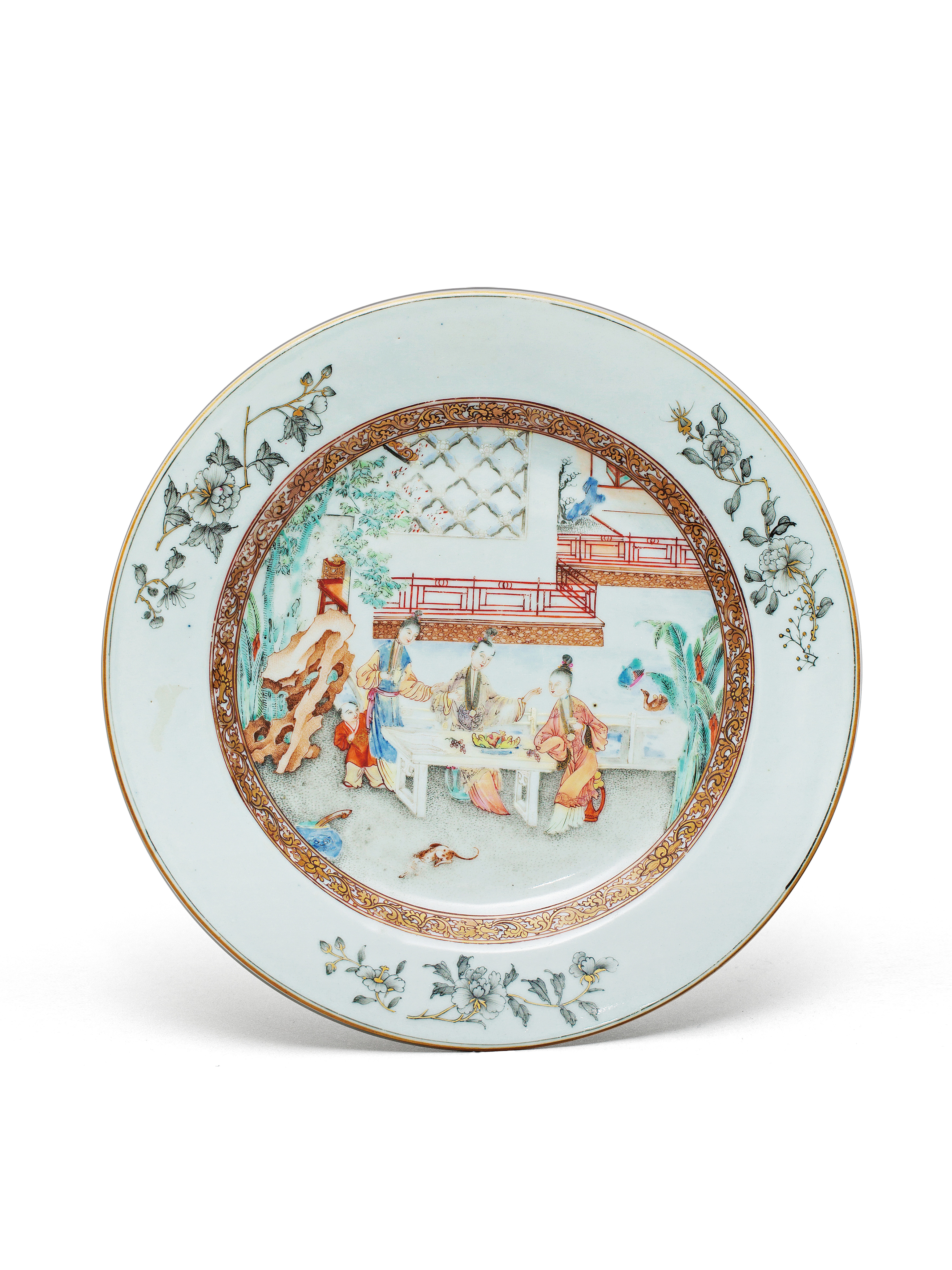 Lot 51 - A famille rose dinner plate Qing Dynasty, Yongzheng Period