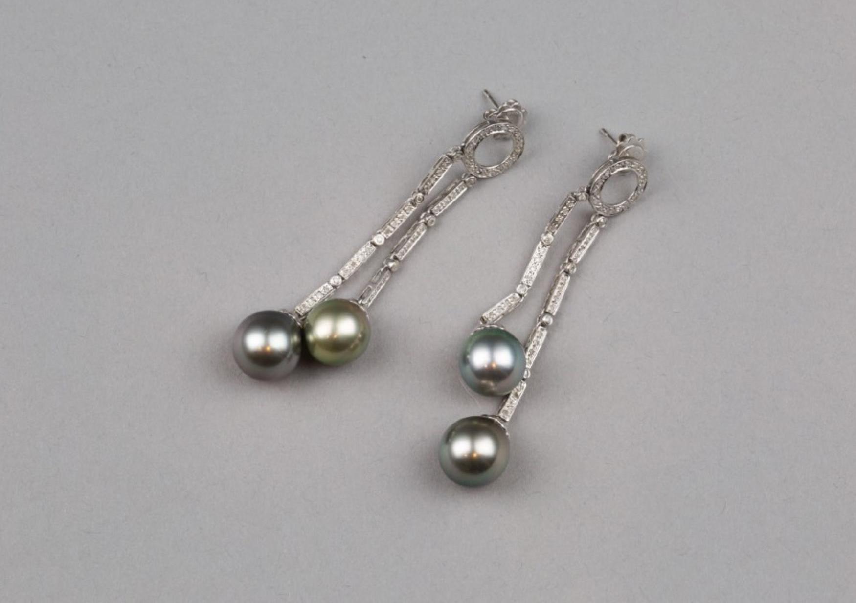 Lot 58 - A Pair of 18K Tahitian Malachite Green Pearl Earrings