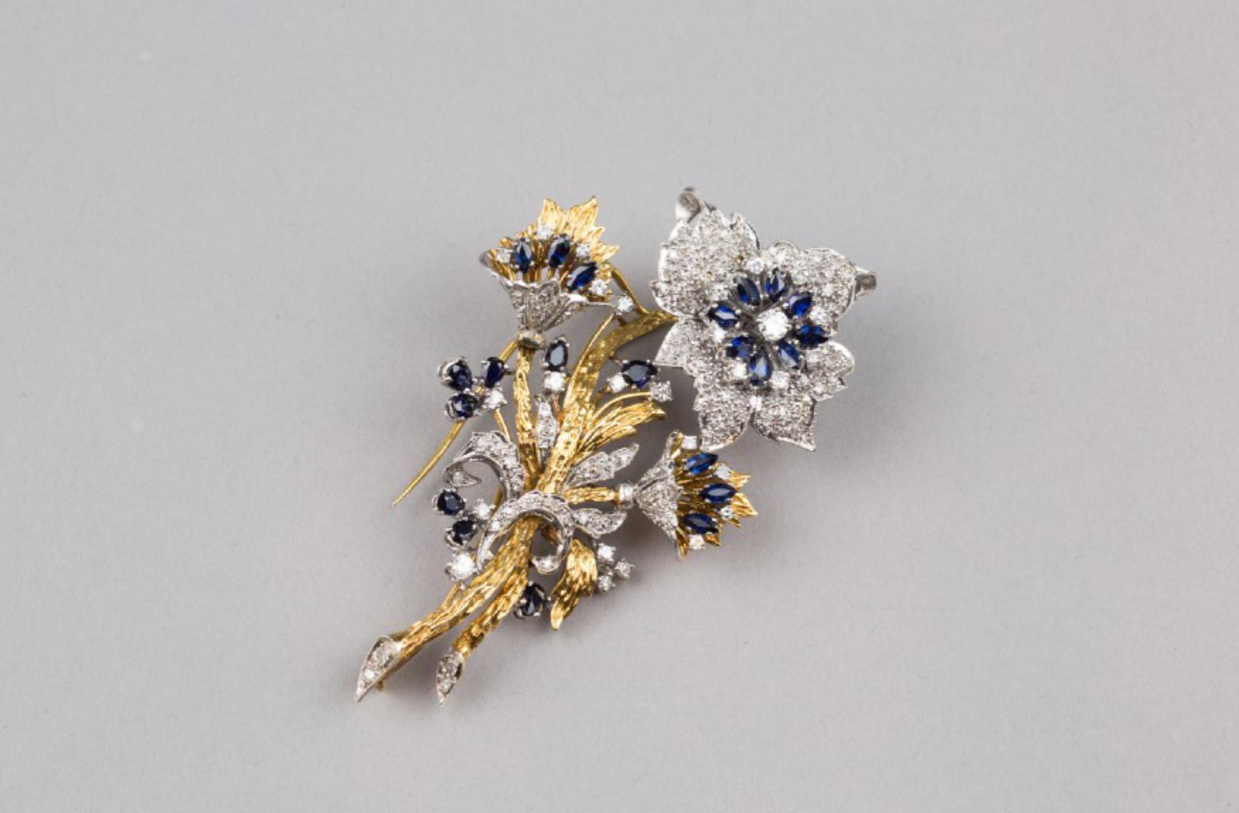 Lot 50 - A 18K Gold Sapphire and Diamond Brooch