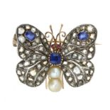 AN ANTIQUE SAPPHIRE, PEARL, RUBY AND DIAMOND BUTTERFLY BROOCH in high carat gold and silver, in