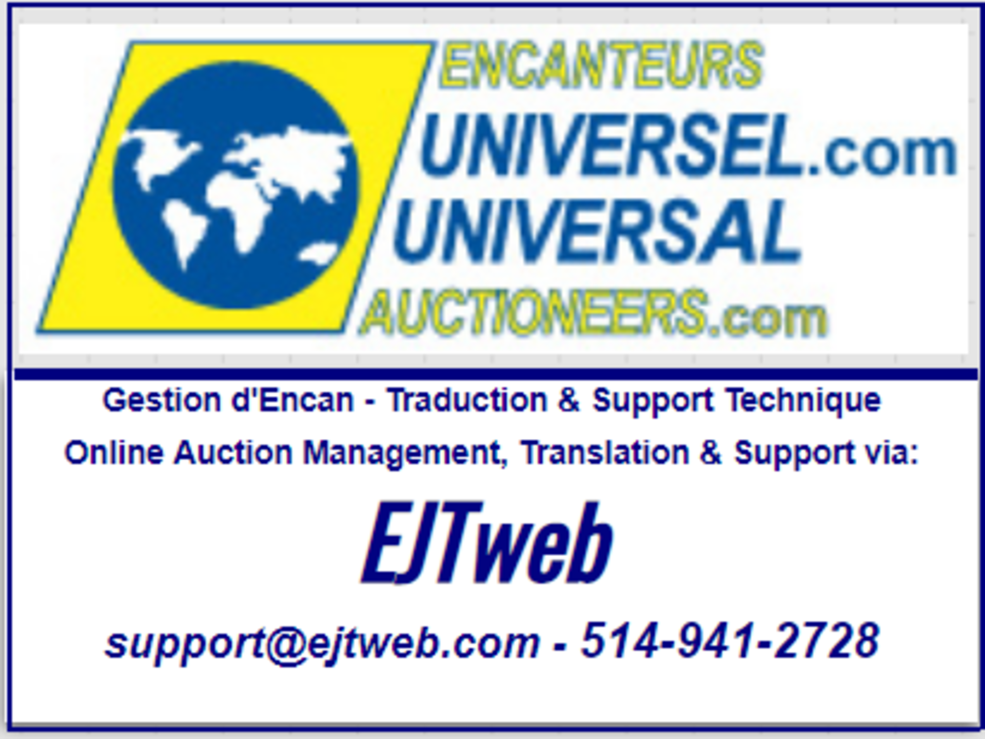 Support Technique / Traductions / Technical Support / Translations: 514-941-2728