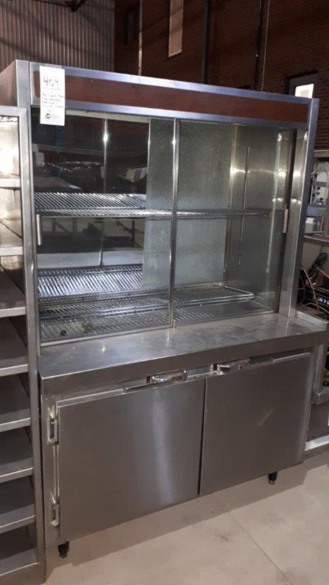 """Stainless steel refrigerated cabinet & compressor w/2 glass doors, 48"""""""