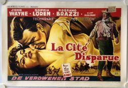 LEGEND OF THE LOST - La Cite Disparue (1957) - Belgian Film Poster - John Wayne & Sophia Loren - (