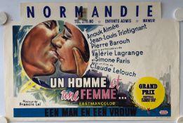 """UN HOMME ET UNE FEMME (1966) - Belgian Film Poster - Anouk Aimee - (14.25"""" x 21"""" - 36 x 53 cm) -"""