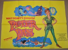 """PETER PAN (1953) - re-release - UK Quad Film Poster (30"""" x 40"""" - 76 x 101.5 cm) – Folded – Very"""