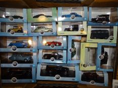 TRAY OF 1:43 SCALE DIECAST CARS AND VANS: by Oxfor