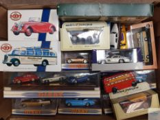 TRAY OF MISCELLANEOUS DIECAST - including later DINKY by MATCHBOX and a BRIMTOY CLOCKWORK BUS - F/