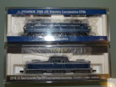 N GAUGE - PAIR OF JAPANESE OUTLINE LOCOS - 1 x DIESEL AND 1 x ELECTRIC - by TOMIX - E in VG boxes (
