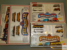 N GAUGE - GROUP OF AMERICAN OUTLINE TRAIN SETS to include - 'THE AMERICAN' and 2 x 'HIGHBALLER' by