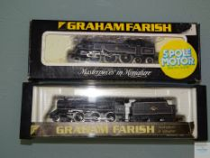 N GAUGE - PAIR OF BRITISH OUTLINE STEAM LOCOMOTIVES by GRAHAM FARISH both in BR BLACK LIVERY - G/