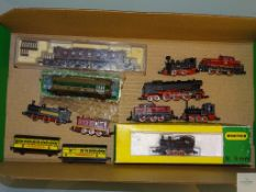 N GAUGE - GROUP OF GERMAN, ITALIAN AND JAPANESE OUTLINE DIESEL AND STEAM LOCOS - MINITRIX, LIMA,