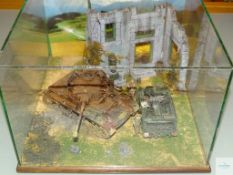 GLASS CASED WORLD WAR II DIORAMA - PLEASE NOTE: THIS IS A GLASS CASE THEREFORE COLLECTION IS