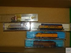 N GAUGE - GROUP OF AMERICAN OUTLINE DIESEL LOCOMOTIVES - by ATLAS and others - G/VG in F/G boxes (