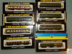 N GAUGE - GROUP OF BRITISH OUTLINE PASSENGER COACHES by GRAHAM FARISH - G in F/G boxes (9)
