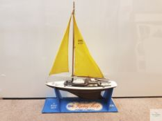 "ELDON PLASTIC AND WOOD SAILING YACHT ""RACING SLOOP"" - complete with cardboard shop display stand -"